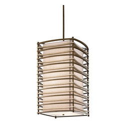 Kichler - Kichler 42074CMZ Moxie 6-Bulb Indoor Pendant with Rectangular Fabric Shade - Kichler 42074MZ Moxie Foyer Pendant