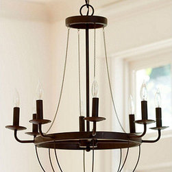 "Ballard Designs - Lourdes 8 Light Chandelier - 6' hanging chain. 5""Diam. ceiling canopy. Perfect for dining table or seating area. The original was designed to burn real candles. We had it recreated without losing a flicker of its old world charm. Our Lourdes Chandelier is crafted from steel that's antiqued with a dark rust finish. Its curves and draped chain accents create a dramatic focal point.Lourdes Chandelier features: . . ."
