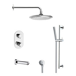 Remer - Round Thermostatic Chrome Tub and Shower Faucet with Slide Rail - Thermostatic diverter.