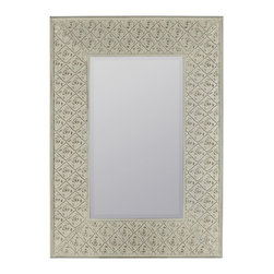 """Cooper Classics - Vistula Arched Frameless Mirror - Cream Finish with Rose Highlights; Beveled Mirror Frame Dimensions: 29.5""""W X 41.5""""H X .5""""D; Mirror Dimensions: 16.5""""W X 28""""H; Finish: Cream with Rose Highlights; Material: Metal; Beveled: No; Shape: Rectangular; Weight: 14.5; Included: Brackets, Ready to Hang Vertically or Horizontally"""