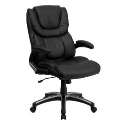 Flash Furniture - Flash Furniture High Back Black Leather Executive Office Chair - This well padded Black Leather Office Chair has very nice contours that you can feel. Besides the generous padding equipped with this chair it has a locking tilt control, pneumatic seat lift and a sturdy nylon base that is trimmed in silver.