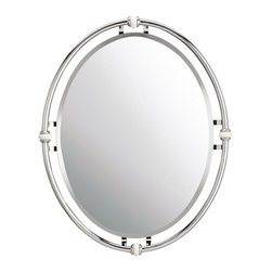 Kichler Mirrors - Chrome - Mirrors. Clean lines, white porcelain accents and a chrome finish make this oval beveled mirror appealing for vintage styled bathrooms. Width 24, height 30.