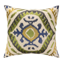 Metrohouse Designs - Embroidered Ikat Pillow - This highly-crafted embroidered throw pillows in elegant colors and patterns are sewn on sophisticated natural linen. The perfect accent for your bedroom, living room, or any room that needs a little flair!