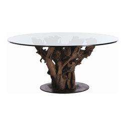 Arteriors - Arteriors 2606 Kazu Dining Table - Arteriors 2606 Kazu Dining Table made with Natural Driftwood/Dark Natural Iron/Clear Glass.