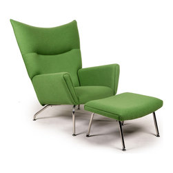 Kardiel Hans J Wegner Style Wing Chair & Ottoman, Apple Green Boucle Danish Wool - The year was 1960. Danish modern furniture design legend, Hans J Wegner sketched an upholstered wing chair literally on a drawing board using pencil and paper. The chair design had modern clean lines and an unmistakable Danish modern stance. The enveloping wrap provides the front ward looking encased structural groove of the arms. The precise curved wing chair back featured a crease folding inward which spans at shoulder height the width across. Yes, these features were aesthetically genius to the design. But they were also the foundation of Wegneres Ergonomics of modern clean form and comfort in functionality. The CH445 Wing Chair provides unexpected comfort in multiple seating positions from curled up to proper upright.