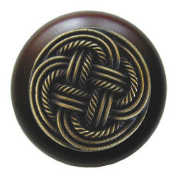 By the Shore - Classic Weave Walnut Wood Knob in Antique Brass