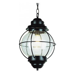 Joshua Marshal - One Light Rustic Bronze Clear Seeded Glass Hanging Lantern - One Light Rustic Bronze Clear Seeded Glass Hanging Lantern
