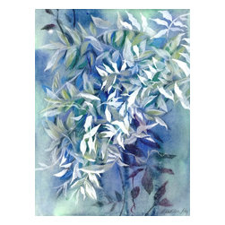 """Vine I Mixed Media Painting, Original, Painting - Wisteria vines are so romantic and prolific! this is a signed original fine art mixed media painting by washington state artist kathleen ney. the paper size is 10"""" x 13.75"""", on stonehenge paper. the last photo shows it in a standard frame and mat. will be shipped unframed in rigid cardboard packaging. please note: colors may vary slightly due to photography and difference in monitors. the copyright watermark shown here is not a part of the original art or prints. purchase of original art does not transfer reproduction rights. shipping price is an estimate and may vary depending on location. please contact me for shipping costs of international and multiple items."""