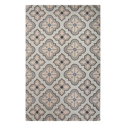 Jaipur Rugs - Hand-Tufted Geometric Pattern Wool Blue/Taupe Area Rug ( 5x8 ) - Whimsical flowers, patterns and colors define this wool tufted range.