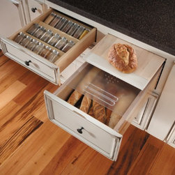 Getting Organized with Fieldstone Cabinetry - Spice Rack drawer insert & Bread drawer with cutting board