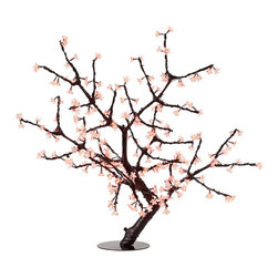 "Lamps Plus - Asian 44"" Red Cherry Blossoms LED Floor Lamp - This sculptural table lamp features a beautiful cherry blossom tree design. Transparent red flowers made from PVC are illuminated by 216 energy-efficient LEDs and the adjustable branches are coated in a black finish. Conveniently the tree will still remain lit even if individual lights burn out and the design has holes in the base for easy mounting. One year warranty included. Individual lights and/or branches are not replaceable. Metal and PVC construction. Black and red finishes. Suitable for indoor or outdoor use. Includes 216 LEDs. Plug-in transformer. 1-year warranty included. 44"" high. 44"" wide. Base is 12"" wide 12"" deep.  Metal and PVC construction.  Black finish and PVC wrapped branches with protective sealant.  Clear plastic petals turn red when lit.  Suitable for indoor or outdoor use.  Includes 216 LEDs.  Plug-in transformer.  44"" max height x 44"" max width.  12"" metal base with pre-drilled holes for mounting.  Other lights stay functional if a bulb burns out.  1-year warranty included."