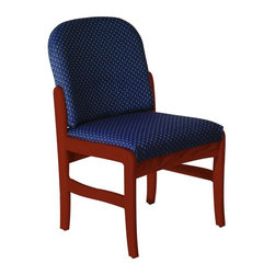 Wooden Mallet - Upholstered Armless Chair (Watercolor Earth) - Fabric: Watercolor EarthVersatile & stylish, this Wooden Mallet chair will provide endless seating options for your home or office. Armless design is crafted with sturdy solid oak, finished with dark red mahogany. Thick padded seat & back are upholstered with plentiful, popular fabric options. Pictured in Dark Red Mahogany with Blue Arch fabric finish. 1 In. thick solid oak frame. Extra thick seat and back cushions. Full length, fully upholstered, arched backs lend style and comfort. Minimal assembly required. Made in the USA. Complies with California TB 117 fire code. 1-Year limited warranty. Weight capacity: 400 lbs. per seat. 26 in. D x 21.5 in. W x 37 in. H (28 lbs.). Seat dimension: 16.5 in. D x 19.5 in. W x 14.5 in. H. Seat height: 19 in.Wooden Mallet's Dakota Wave Prairie series with its full length, fully upholstered back offers graceful styling for sophisticated good looks. This standard leg armless model is for those who desire a more traditional, elegant look. This chair is constructed of solid oak with a state-of-the-art finish for beauty and durability. Choose from dozens of stain and fabric combinations to customize this chair for any décor or contact us to learn about supplying your own fabric for a personalized look. Choose this chair as part of our complete Dakota Wave collection of coordinating lobby essentials.