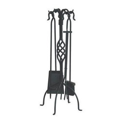 Blue Rhino - 5 Pc. Fireset Center Weave Black - Outfit your fireplace with everything you need to start, maintain and clean up after a beautiful blaze. This five-piece set boasts a classic look in black wrought iron that's perfect for your traditional hearth.