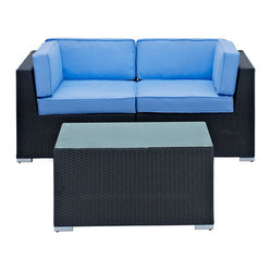 Camfora Outdoor Wicker Patio 3 Piece Sofa Set in Espresso with Light Blue Cushio