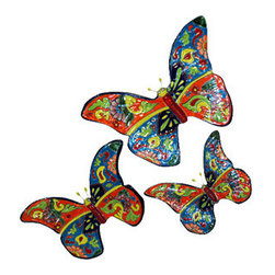 "Butterflies, Set of 3 - Let them flit in your home. Nicely decorated set of three butterflies. Large: 15""X10"""