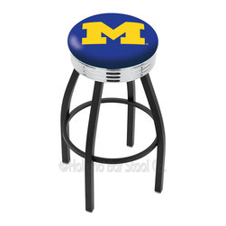 """Holland Bar Stool - Holland Bar Stool L8B3C - Black Wrinkle Michigan Swivel Bar Stool - L8B3C - Black Wrinkle Michigan Swivel Bar Stool w/ Chrome 2.5 Inch Ribbed Accent Ring belongs to College Collection by Holland Bar Stool Made for the ultimate sports fan, impress your buddies with this knockout from Holland Bar Stool. This contemporary L8B3C logo stool has a single-ring black wrinkle base with a 2.5"""" cushion and a 3"""" chrome ribbed accent ring that helps the seat to """"pop-out"""" at glance. Holland Bar Stool uses a detailed screen print process that applies specially formulated epoxy-vinyl ink in numerous stages to produce a sharp, crisp, clear image of your desired logo. You can't find a higher quality logo stool on the market. The plating grade steel used to build the frame is commercial quality, so it will withstand the abuse of the rowdiest of friends for years to come. The structure is powder-coated black wrinkle with a triple chrome-plated ribbed accent ring to ensure a rich, sleek, long lasting finish. Construction of this framework is built tough, utilizing solid mig welds. If you're going to finish your bar or game room, do it right- with a Holland Bar Stool. Barstool (1)"""