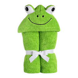 """Yikes Twins - Baby Frog Hooded Towel - This baby Froggy will keep your infant snug and warm after the bath.  The soft green, 100% cotton terry is accented with big puffy soft eyes. Suitable for children ages birth to 2yrs.  Towel size 27""""x51"""", hood size 9""""x 7"""". Machine wash."""