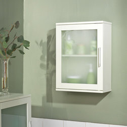 Simple Living - Simple Living Antique White Frosted Pane Wall Cabinet - Bring function to your room with this adjustable single shelf wall cabinet. The cabinet is white engineered wood and has a door with tempered glass and silver handle on it. This cabinet is ideal for any area short on floor and storage space.