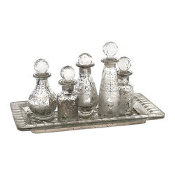 "IMAX CORPORATION - Macaire Mini Bottles with Tray - Set of 6 - Macaire Mini Bottles w/ Tray. Set of 6 in various sizes measuring around 12""h x 6.5""w x 6"" each. Shop home furnishings, decor, and accessories from Posh Urban Furnishings. Beautiful, stylish furniture and decor that will brighten your home instantly. Shop modern, traditional, vintage, and world designs."