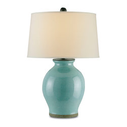Currey & Co - Currey & Co 6431 Fittleworth Robin's Egg Blue Table Lamp - 1 Bulb, Bulb Type: 150 Watt Edison; Weight: 19lbs