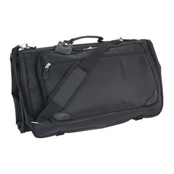Mercury Luggage - Ballastic Nylon Tri-Fold Garment Bag - 1680 denier ballistic nylon tri-fold garment bag. Large front gusseted pocket. Additional exterior zippered compartment. Detachable adjustable shoulder strap and luggage tag. Antique brushed silver hardware. 45 in. L x 2.75 in. W x 22.25 in. H