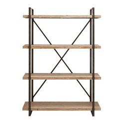 Benzara - Classic Metal Wood Shelf 67in.H, 47in.W - Size: 47 Wide x 14 Depth x 67 High (Inches)