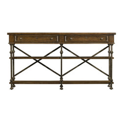 Stanley Furniture - European Farmhouse Belgian Cross Huntboard, Blond - This European Farmhouse Belgian Cross Huntboard is the perfect piece of artifice consisting of pristinely crossed swords forged into the medal itself. It is Crafted in iron and the rugged, yet smooth support braces are studded with stacked disk trim details. It contains double keyhole drawers that are deep enough for convenient use. The asymmetric open shelves make a perfect spot for urns and other large collectibles, or perhaps a family crest.