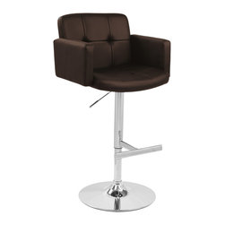 "Stout Bar Stool - BROWN - The Stout Bar Stool was designed with comfort in mind. The padded seat combined with the high back and armrest makes this stool great for relaxing. The stool is  supported by a polished chrome base and hydraulic pole which adjusts the seat height. Get comfy and look great doing it! Product Dimensions: 23"" L x 24"" W x 37 - 45"" H, Seat Height: 24 - 32"""