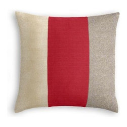 Red, Champagne & Gunmetal Color Block Pillow - One, two, three stripes your in...with the color block trend, that is!  While the Color Block Throw Pillow may be particularly on trend now, its bold graphic look will never go out of style. We love it banded in metallic champagne, red & metallic gunmetal linen.