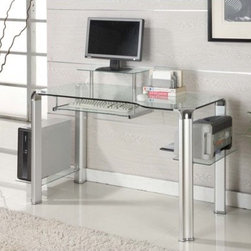 "Innovex - Glass Computer Desk with Tower Shelft - This computer desk features a 0.5'' High-density tempered glass desktop supported by a chrome powder coated steel frame. Equipped with a large workstation, pull-out keyboard tray and CPU and printer shelves. This computer desk is perfect for both your home and office. Features: -Compact / ergonomic design.-Large work station.-Slide-out keyboard tray.-CPU and printer shelves.-Powder coated steel frame.-Tempered glass top.-Desk Type: Computer Desk.-Top Finish: Clear.-Powder Coated Finish: Yes.-Gloss Finish: No.-UV Finish: No.-Top Material: Glass.-Non-Toxic: Yes.-Water Resistant: No.-Stain Resistant: No.-Heat Resistant: No.-Style: Modern.-Design: Standard Desk.-Distressed: No.-Collection: Clear View.-Eco-Friendly: No.-Cable Management: No.-Keyboard Tray: Yes.-Height Adjustable: No.-Drawers Included: No.-Exterior Shelving: Yes -Number of Exterior Shelves: 2.-Adjustable Exterior Shelving: No..-Cabinets Included: No.-Ergonomic Design: Yes.-Scratch Resistant: No.-Chair Included: No.-Legs Included: Yes -Number of Legs: 4.-Leg Material: Metal.-Leg Glides: No..-Casters Included: No.-Hutch Included: No.-Treadmill Included: No.-Cork Back Panel: No.-Modesty Panel: No.-CPU Storage: Yes.-Built In Outlet: No.-Built In Surge Protector: No.-Light Included: No.-Finished Back: No.-Modular: No.-Application: Home Office.-Commercial Use: No.-Wood Tone: No.-Swatch Available: No.-Recycled Content: No.Specifications: -FSC Certified: No.-EPP Certified: No.-CARB Compliant: Yes.-ISTA 3A Certified: Yes.-General Conformity Certificate: No.-Green Guard Certified: No.-ANSI BIFMA Certified: No.-SCS Certified: No.-ADA Compliant: No.-FIRA Certified: No.-GSA Approved: No.Dimensions: -Overall Height - Top to Bottom: 29"".-Overall Width - Side to Side: 47.2"".-Overall Depth - Front to Back: 27.3"".-Shelving: Yes.-Desktop Width - Side to Side: 47.2"".-Desktop Depth - Front to Back: 27.3"".-Knee Space Width: 42"".-Legs: Yes.-Overall Product Weight: 102 lbs.Assembly: -Assembly Required: Yes.-Tools Needed: No tools required.-Additional Parts Required: No.Warranty: -Product Warranty: Innovex home products are warranted to be free from defects in material and workmanship for a period of one year.."