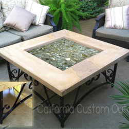 """Architectural iron and concrete fire table - This fire table is simple, yet stylish in design. Attention to detail is found throughout. 42"""" X18"""" architectural iron and concrete natural gas fire table. The base, top and fire glass are available in a multitude of design colors. A matching end table is available."""
