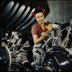 Woman Working on an Airplane Motor Print - Woman Working on an Airplane Motor at North American Aviation, Inc., plant in California. Photographed by Alfred Palmer for the WPA in June of 1942. Shot on color 4x5 transparency film.