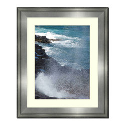 """Frames By Mail - Wall Picture Frame Silver with a white acid-free matte, 8x10 - This 8X10 silver wall picture frame is 2.5"""" wide.  The white matte, for a 5X7 picture, can be removed to accommodate a larger picture.  The frame includes regular plexi-glass (.098 thickness) foam core backing and can hang either horizontal or vertical."""