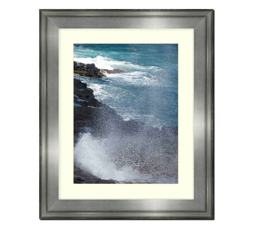 "Frames By Mail - Wall Picture Frame Silver with a white acid-free matte, 8x10 - This 8X10 silver wall picture frame is 2.5"" wide.  The white matte, for a 5X7 picture, can be removed to accommodate a larger picture.  The frame includes regular plexi-glass (.098 thickness) foam core backing and can hang either horizontal or vertical."