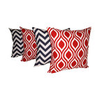 Land of Pillows - Zig Zag Chevron Navy and Nicole Lipstick Red Decorative Throw Pillows - Set of 4 - Fabric Designer - Premier Prints