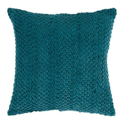 "Surya P0279-2222P 100% Cotton 22"" x 22"" Decorative Pillow - This solid textural pillow gives your space a fun, new look. The color teal green accents this decorative pillow. This pillow contains a poly fill and a zipper closure. Add this 22"" x 22"" pillow to your collection today. Filler: Poly Fiber. Shape: Square"