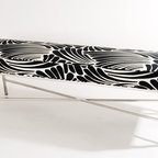 Roxy Bench - Our contemporary Roxy bench features a beautiful, stainless steel X base with an upholstered seat.