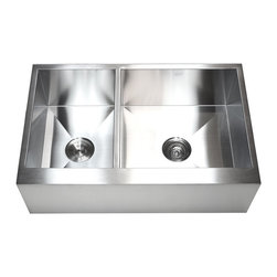 """Ariel - 33 Inch Stainless Steel 40/60 Double Bowl Flat Front Farm Apron Kitchen Sink - The Ariel 33 inch flat front apron sink is a durable 40/60 sink that is built to last. Exterior Dimensions 33"""" x 21"""" x 10""""."""