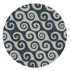 Jaipur Rugs - Abstract Pattern Blue Indoor/ Outdoor Rug - CI04, 8'RD - Catch a wave for your decor. This lovely sea-faring pattern perfectly suits your easy-going style — and the rug is rugged enough to handle your crew, outdoors as well as in.