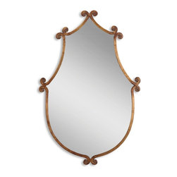Uttermost - Ablenay Antiqued Gold Unique Mirror - Mirror features a hand forged metal frame finished in antiqued gold with burnished edges.