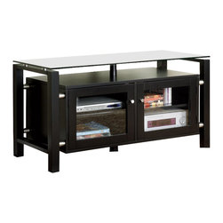Monarch Specialties - Monarch Specialties 46 Inch TV Console in Black with Tempered Glass - This simple and stylish TV console will be a great unit to gather around with your family and friends. Place your television on the top tempered glass surface, and electronic components beneath it and on the shelves inside two lower glass doors. This TV stand has a clean look, straight square legs, and simple brushed silver metal knobs that contrast the black colored steel finish. Choose this media console for media storage solutions in your casual contemporary living room or family room. What's included: Media Unit / TV Stand (1).