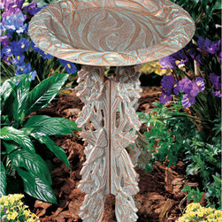 Butterfly Pedestal Birdbath - While the bowl of this birdbath is expertly crafted and beautiful to look at, what really grabs the attention is the pedestal, composed of a multitude of reeds and tiny butterflies. The unique design both blends in and stands out easily.