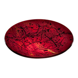 Art Glass Design Studio - Ruby Art Glass Bowl - Fused and slumped art glass bowl Varda uses glass much like a quilter uses fabric; creating a glass canvas from bits and pieces of glass, that is fired, cut and used again in a new design, using layers of color and texture to create depth in a piece of art.