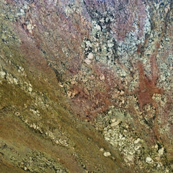 Crema Bordeaux - Crema Bordeaux is an exotic granite. It features a mix between gray, burgundy, and taupe veins on a cream background. Long sandy veins along with dark grey quartz deposits.