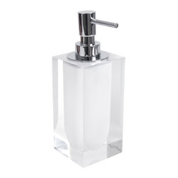 "Jonathan Adler - Jonathan Adler Hollywood Lotion Pump White - Jonathan Adler's contemporary lotion pump energizes bathrooms with the designer's ""happy chic"" aesthetic. Topped with a silver dispenser and finished in opaque white acrylic, this rectangular accessory keeps moisturizer accessible in edgy style. 3""W x 7.5""H; Acrylic"