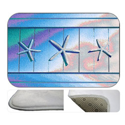 Silver Stars Plush Bath Mat, 20X15 - Bath mats from my original art and designs. Super soft plush fabric with a non skid backing. Eco friendly water base dyes that will not fade or alter the texture of the fabric. Washable 100 % polyester and mold resistant. Great for the bath room or anywhere in the home. At 1/2 inch thick our mats are softer and more plush than the typical comfort mats.Your toes will love you.