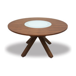 Bryght - Clifford Lazy Susan Round Dining Table - The Clifford round dining table, with its striking dynamic design, is sure to add a stunning twist to your home decor. Its beautifully constructed clean-carved legs aesthetically meet at a focal point serving to enhance its modern looks. Its tempered glass Lazy Susan which rests on easy-to-glide ball bearings offers functionality with charm.