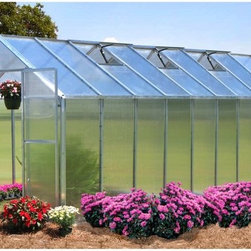 Riverstone Industries - Riverstone Industries Monticello 8 x 20 ft. Greenhouse - MONT-20-BK - Shop for Greenhouses from Hayneedle.com! With its generous size and superior construction the Riverstone Industries Monticello 8 x 20 ft. Greenhouse is here to prove that not all greenhouses are built the same. To start this greenhouse is proudly made in the USA. Monticello applies good old American ingenuity to make the best product for their customers which helps elevate the industry standards of all greenhouses.This greenhouse is constructed from the highest quality US-grade extruded aluminum not the thinner and more brittle foreign aluminum. It features a protective coating that comes in select color options. The coating is guaranteed to contain 0.0% lead. On average this 20-foot greenhouse uses over 85 pounds more aluminum than the typical imported greenhouse. Why is this important? A weaker framework suffers more wind damage and can handle less snow before collapsing. While most hobby greenhouses on the market use less expensive thinner walls and roofing materials (the crystal clear walls are as thin as .2mm) the Monticello uses professional-grade 8mm twin wall polycarbonate. This is the same thickness used in the commercial greenhouses. The twin wall polycarbonate acts as a double paned window keeping cooler air in during warm months and insulating the greenhouse from cold air in the wintertime. This makes the Monticello more efficient than other greenhouses. It also adds to the efficiency of growing cutting down electric bills for those who choose to grow year round. The average greenhouse on the market today takes a full weekend to assemble. This is why many greenhouse owners say their top issue in the first two months of ownership is the actual set-up. Through a combination of using superior materials and creating interchangeable parts the Monticello takes the average gardener 10-12 hours to assemble an 8 ft. x 20 ft. greenhouse while using fewer parts. This does 