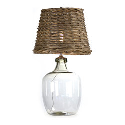 Kathy Kuo Home - Panier French Cottage Large Glass Rustic Basket Shade Table Lamp - L - It's the combo of smooth and rough textures in this French cottage lamp that make it a winner.  The cool, clean lines of the clear glass base rise up to meet the thoroughly rustic basket weave shade. Does it belong in a modern artsy loft? A French cottage in the countryside? This lamp boldly declares you don't have to choose.