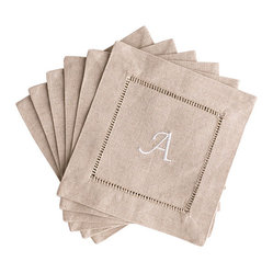 Natural Cocktail Napkins with White Monogram